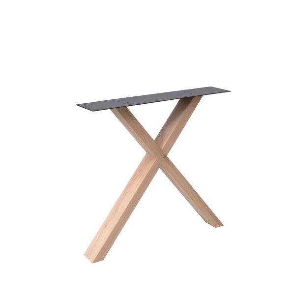 Eiken X-tafelpoten ELEGANT (SET) 4x10 cm - 78 cm breed - 72 cm hoog - Rustiek eikenhout