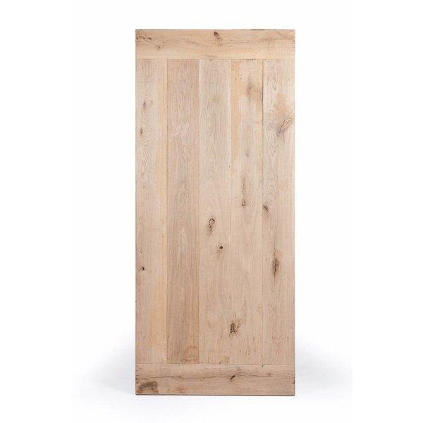 Eiken tafelblad met lamel op de kopse kant - 4,5 cm dik (1-laag) - extra rustiek eikenhout - GEBORSTELD + V-GROEVEN