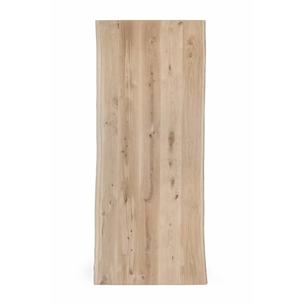 Eiken boomstam tafelblad 100x200-300 cm - 4,5 cm dik (2-laags rondom) - rustiek eikenhout