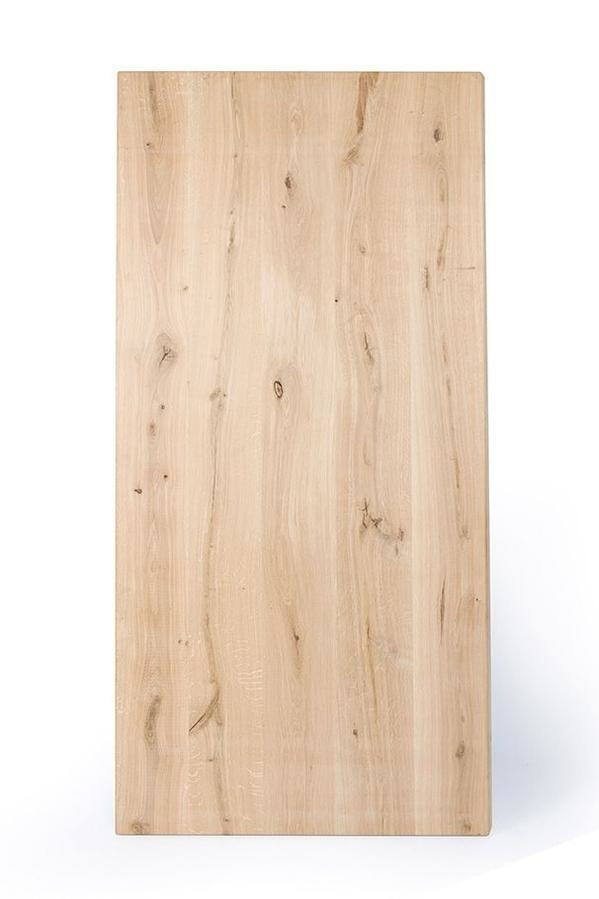 Eiken tafelblad verjongd - 4,5 cm dik (2-laags rondom) - Diverse afmetingen - extra rustiek Europees eikenhout - met verjongde (afgeschuinde) rand / kant - verlijmd kd 10-12%
