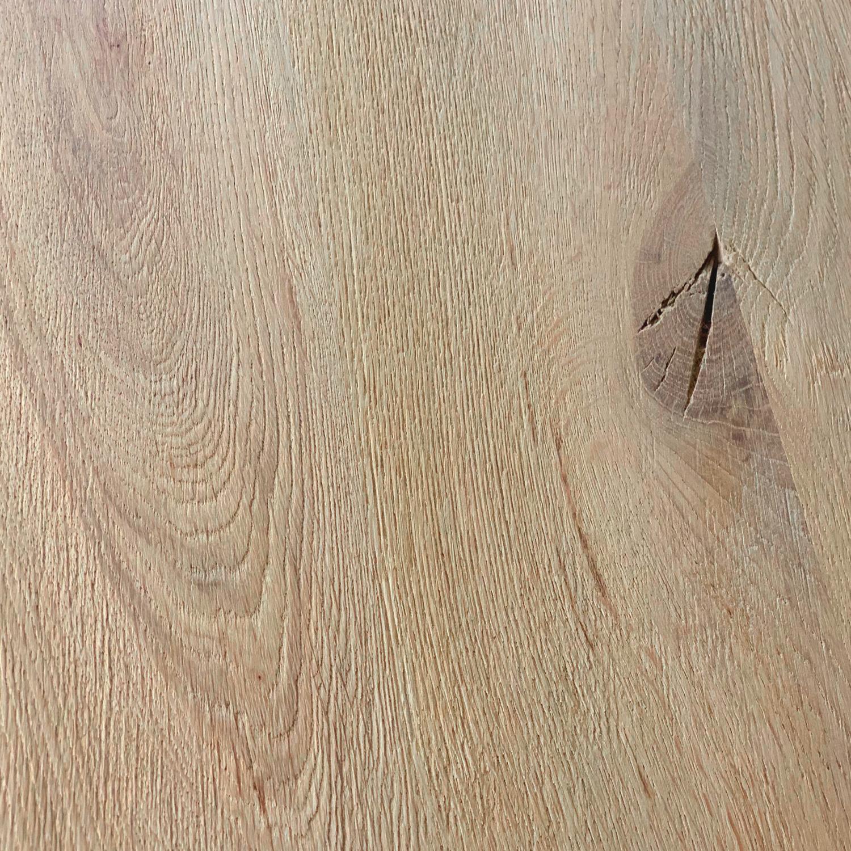 Eiken tafelblad met lamel op de kopse kant - 100x200-300- 4,5 cm dik (1-laag) - rustiek Europees eikenhout - GEBORSTELD + V-GROEVEN - verlijmd kd 10-12%