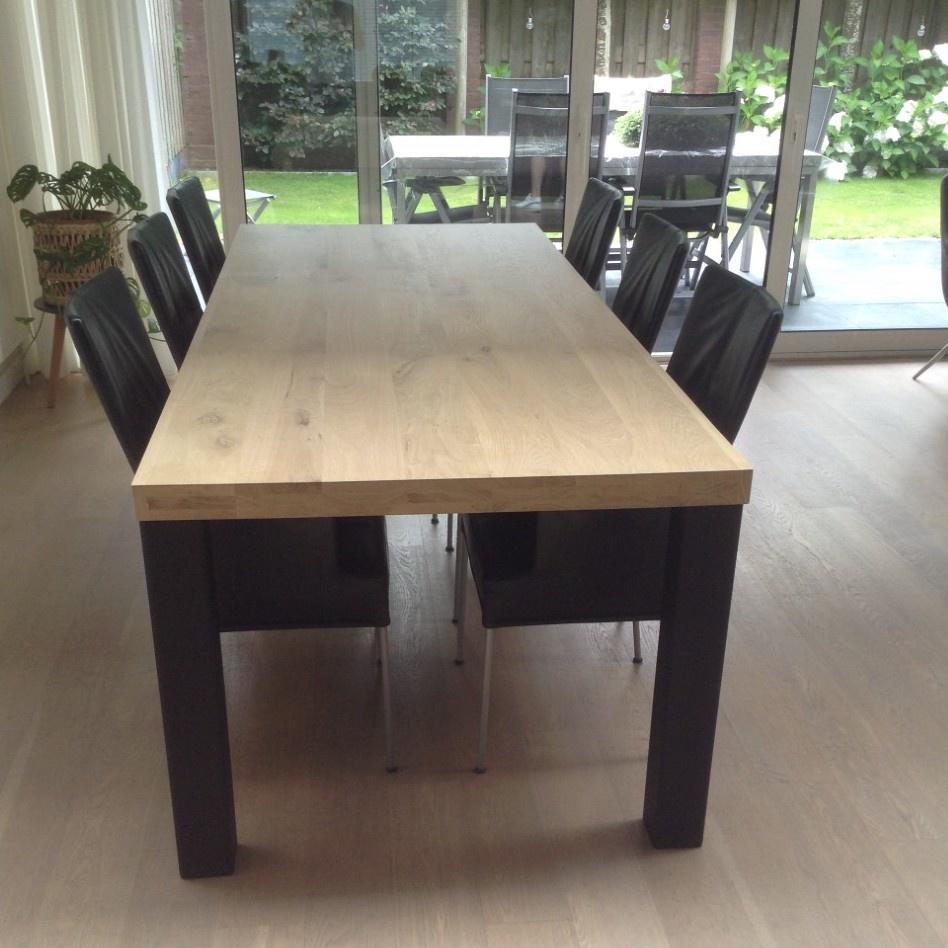 Eiken tafelblad op maat - 6 cm dik (3-laags) - rustiek Europees eikenhout - verlijmd kd 8-12% - 50-120x50-300 cm