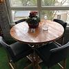 Eiken tafelblad rond - 4,5 cm dik (1-laag) - Diverse afmetingen - Rustiek Europees eikenhout GEBORSTELD - verlijmd kd 10-12%