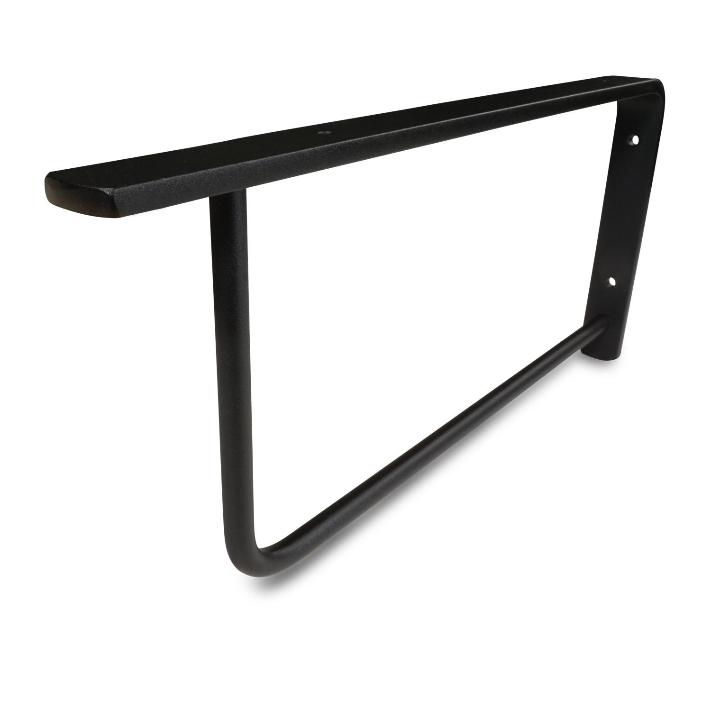 Stalen wastafelbeugel rechthoek elegant (SET) 45x20 cm - ZWART gecoat - 30,8 mm strip - Zwarte handdoekbeugel / ophangbeugel incl. poedercoating - muursteun / wandsteun wastafelblad - Badkamer steun