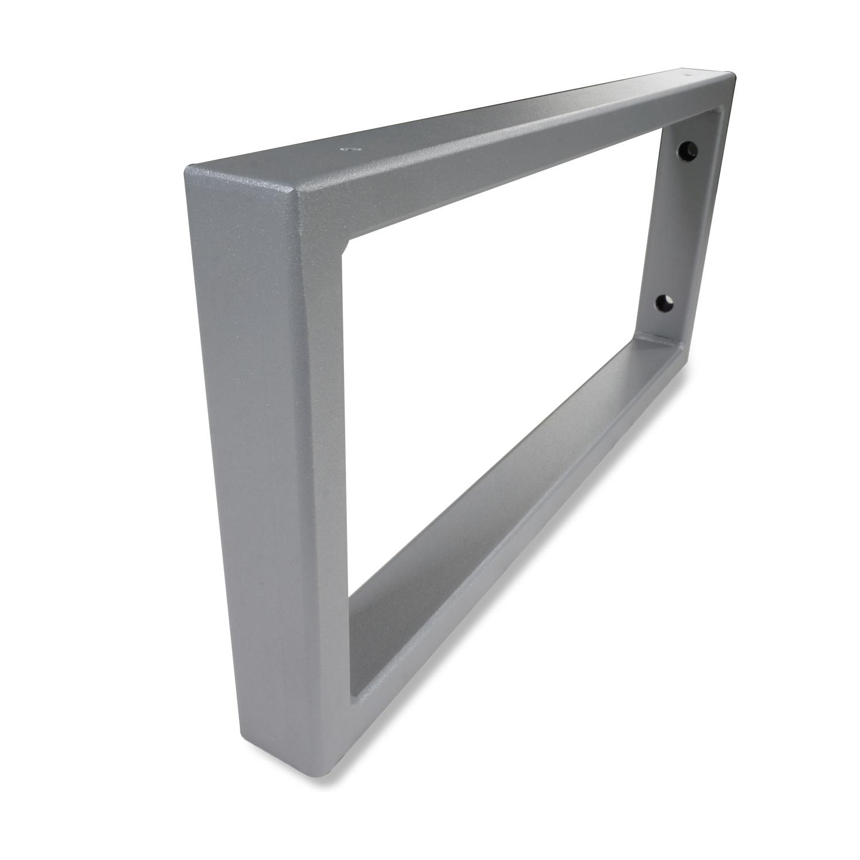 Stalen wastafelbeugel rechthoek (SET) 45x20 cm - GRIJS gecoat - 40x20x2 mm koker - Grijze handdoekbeugel / ophangbeugel incl. poedercoating - muursteun / wandsteun wastafelblad - Badkamer steun