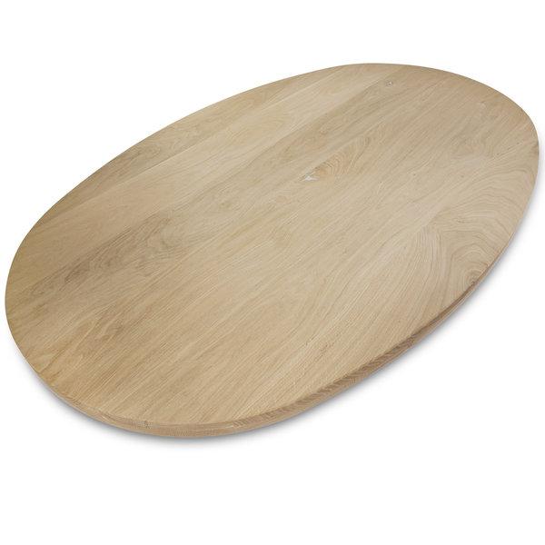 Ovaal eiken tafelblad - 4 cm dik (2-laags) - rustiek eikenhout