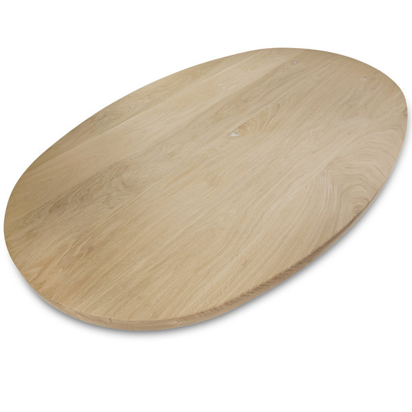 Ovaal eiken tafelblad - 4 cm dik (2-laags) - rustiek eikenhout - GEBORSTELD