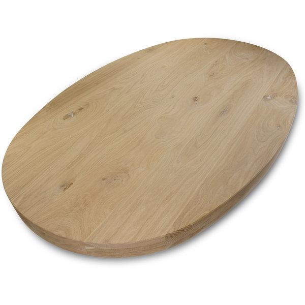 Ovaal eiken tafelblad - 6 cm dik (3-laags) - rustiek eikenhout - GEBORSTELD