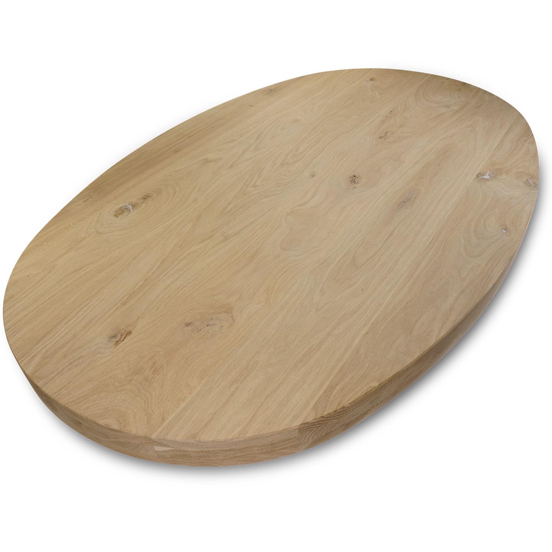 Ovaal eiken tafelblad - 6 cm dik (3-laags) - GEBORSTELD - rustiek Europees eikenhout - diverse ellips maten - verlijmd kd 8-12%