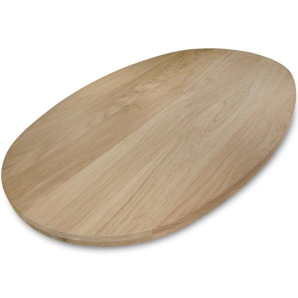 Ovaal eiken tafelblad - 4 cm dik (2-laags) - Foutvrij eikenhout - GEBORSTELD
