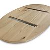 Ovaal eiken tafelblad - 4 cm dik (2-laags) - Foutvrij Europees eikenhout - GEBORSTELD - diverse ellips maten - verlijmd kd 8-12%