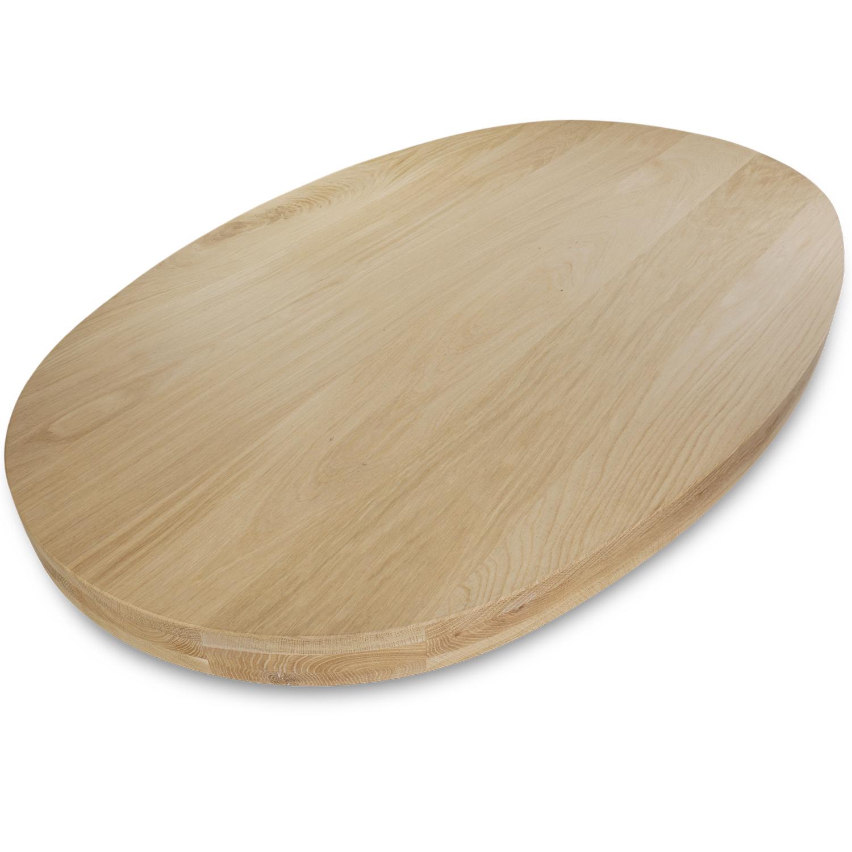 Ovaal eiken tafelblad - 6 cm dik (3-laags) - Foutvrij Europees eikenhout - GEBORSTELD - diverse ellips maten - verlijmd kd 8-12%