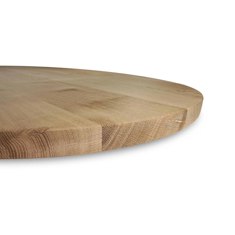 Ovaal eiken tafelblad - 3 cm dik (1-laag) - GEBORSTELD - rustiek Europees eikenhout - diverse ellips maten - verlijmd kd 8-12%