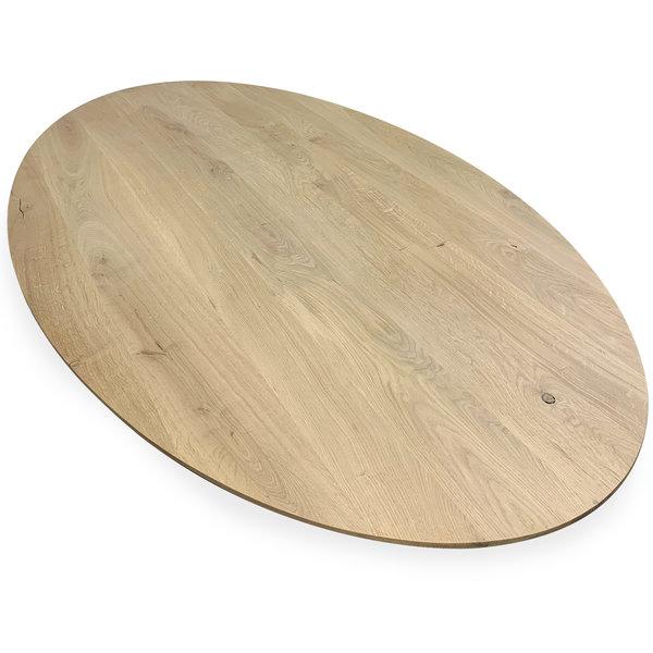 Eiken tafelblad ovaal - 4,5 cm dik (1-laag) - rustiek eikenhout - GEBORSTELD