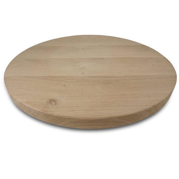 Rond eiken tafelblad op maat - 3 cm dik (1-laag) - rustiek eikenhout - GEBORSTELD
