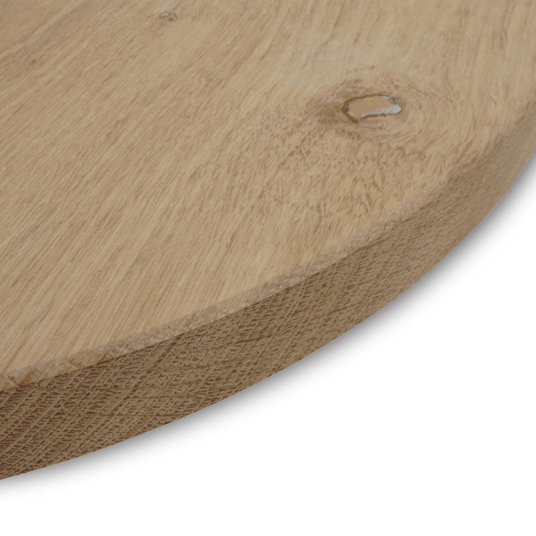 Rond eiken tafelblad op maat - 2 cm dik (1-laag) - rustiek Europees eikenhout - GEBORSTELD - verlijmd kd 8-12% - diameter van 35 tot 130 cm
