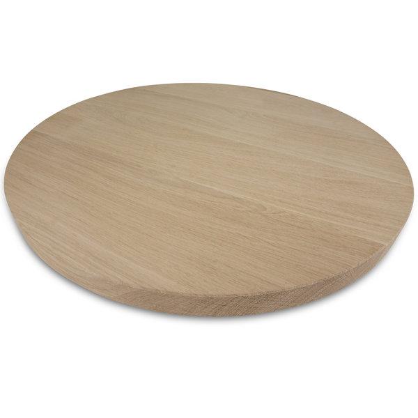 Rond eiken tafelblad op maat - 3 cm dik (1-laag) - foutvrij eikenhout - GEBORSTELD