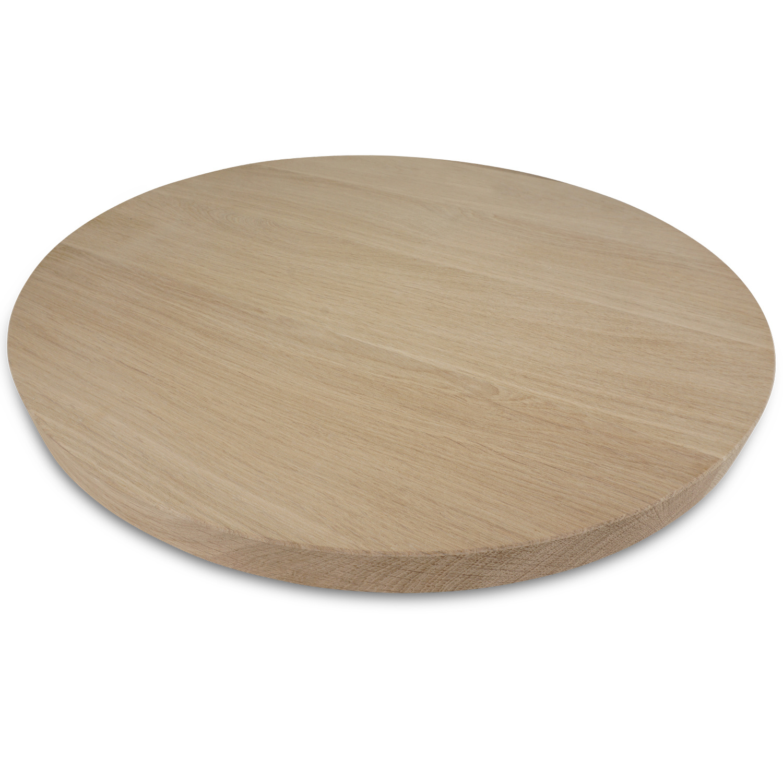 Rond eiken tafelblad op maat - 2 cm dik (1-laag) - Foutvrij Europees eikenhout - verlijmd kd 8-12% - diameter van 35 tot 130 cm