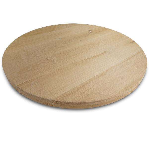 Rond eiken tafelblad op maat - 4 cm dik (2-laags) - rustiek eikenhout