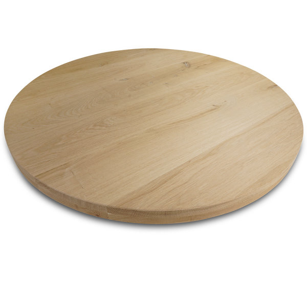 Rond eiken tafelblad op maat - 4 cm dik (2-laags) - rustiek eikenhout - GEBORSTELD