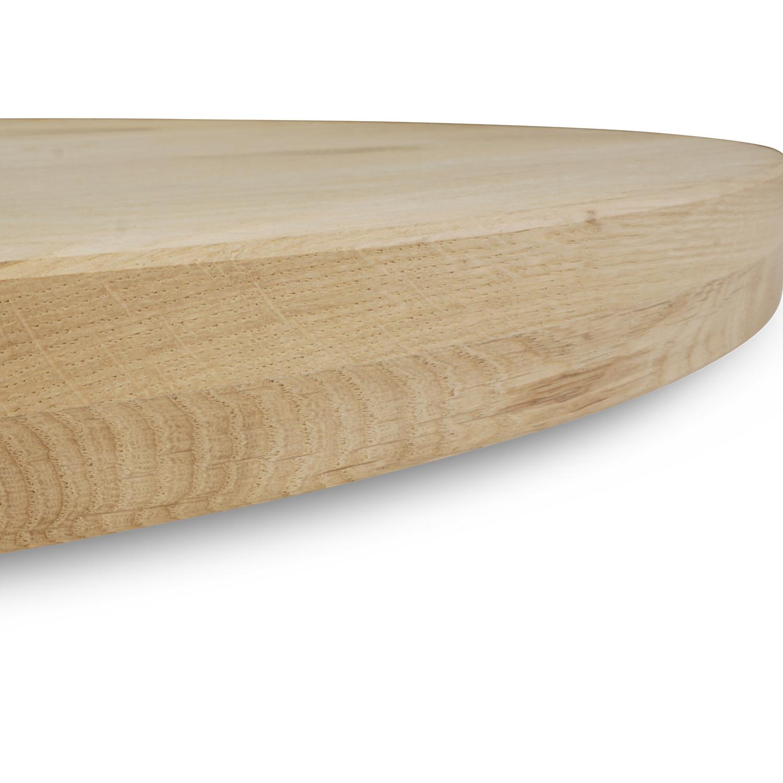 Rond eiken tafelblad op maat - 4 cm dik (2-laags) - Foutvrij Europees eikenhout - verlijmd kd 8-12% - diameter van 35 tot 130 cm