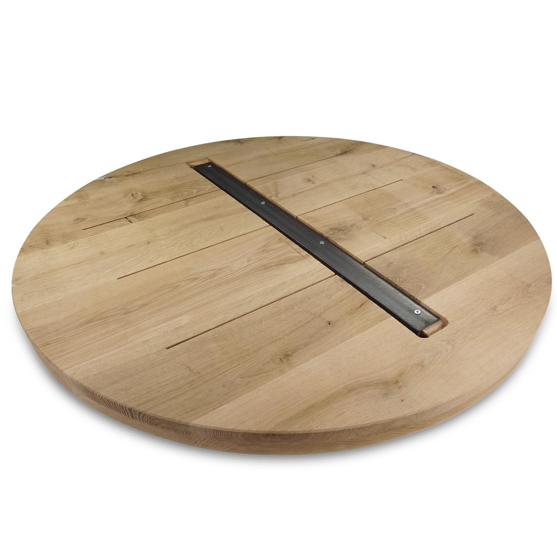 Rond eiken tafelblad op maat - 4 cm dik (2-laags) - Foutvrij Europees eikenhout - GEBORSTELD verlijmd kd 8-12% - diameter van 35 tot 130 cm