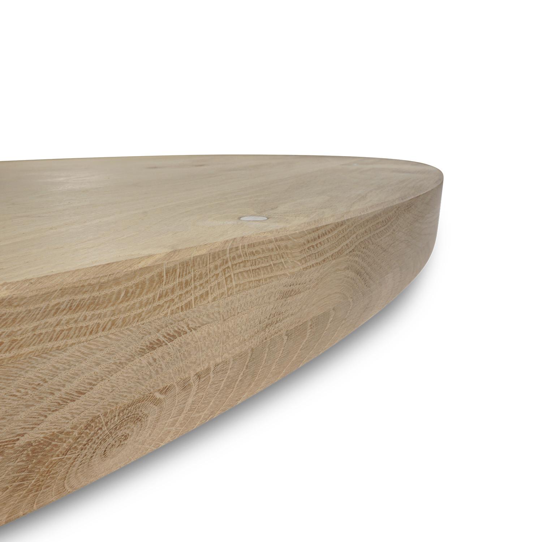 Rond eiken tafelblad op maat - 6 cm dik (3-laags) - rustiek Europees eikenhout - verlijmd kd 8-12% - diameter van 35 tot 130 cm