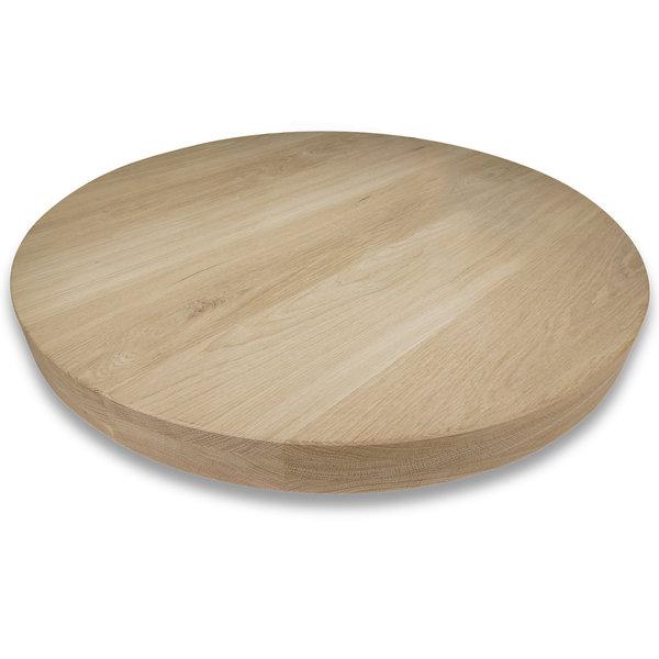 Rond eiken tafelblad op maat - 6 cm dik (3-laags) - foutvrij eikenhout - GEBORSTELD