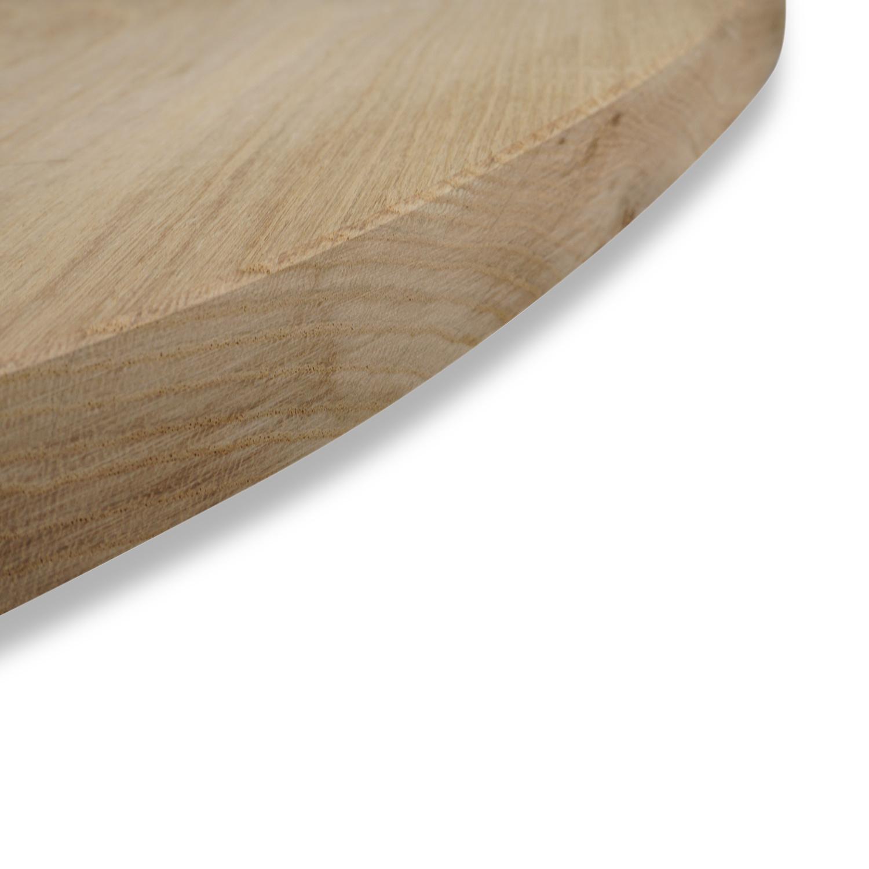 Ovaal eiken tafelblad - 3 cm dik (1-laag) - Foutvrij Europees eikenhout - diverse ellips maten - verlijmd kd 8-12%