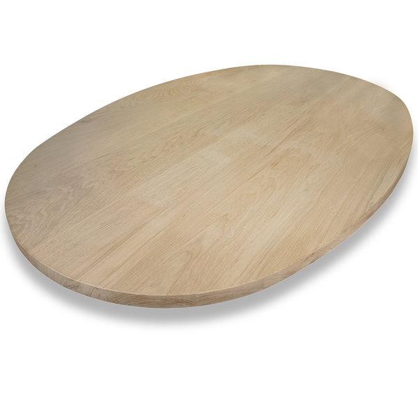 Ovaal eiken tafelblad - 3 cm dik (1-laag) - Foutvrij eikenhout - GEBORSTELD