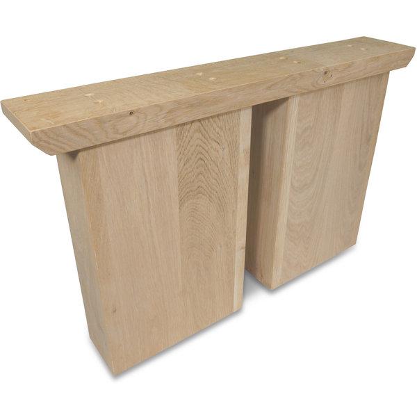Eiken ovale salontafel poten (SET) 25x10cm - 65 cm breed - Foutvrij eikenhout