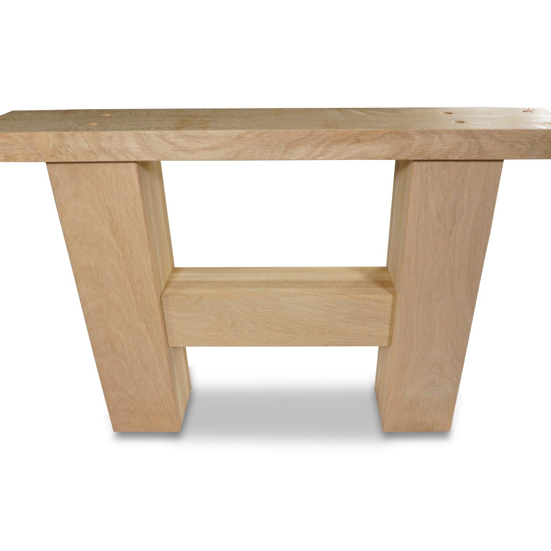 Eiken salontafel H-poten (SET - 2 stuks) 10x10cm - 65 cm breed - Salontafel A-poot van Rustiek eikenhout - verlijmd kd 8-12%