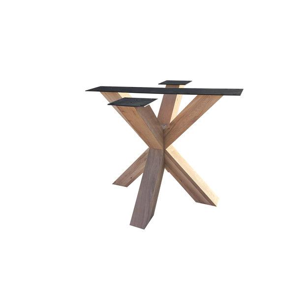 Eiken onderstel Dubbele X - 10x10 cm - 90x90 cm - 72 cm hoog - Rustiek eikenhout - OPGEBORSTELD