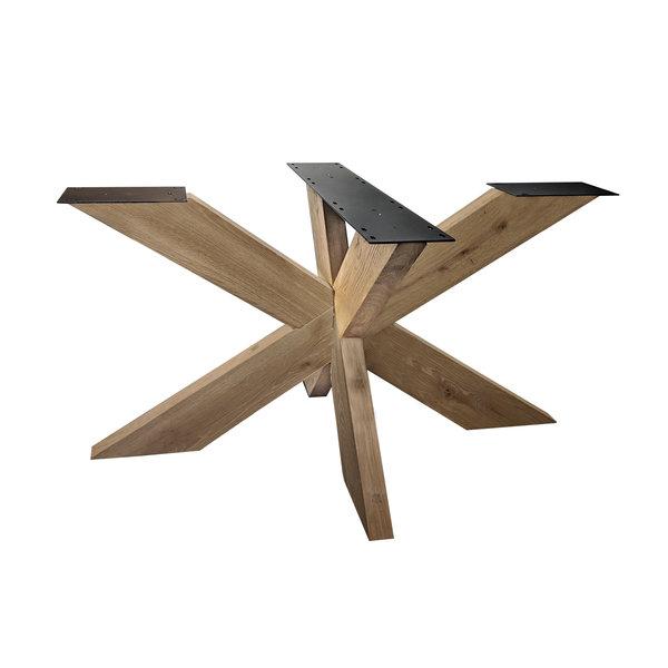 Eiken onderstel Matrix (3D) - 16x6 cm - 140x90 cm - 72 cm hoog - Rustiek eikenhout - OPGEBORSTELD