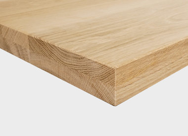 Eiken tafelblad 4,5 cm dik (2-laags rondom)