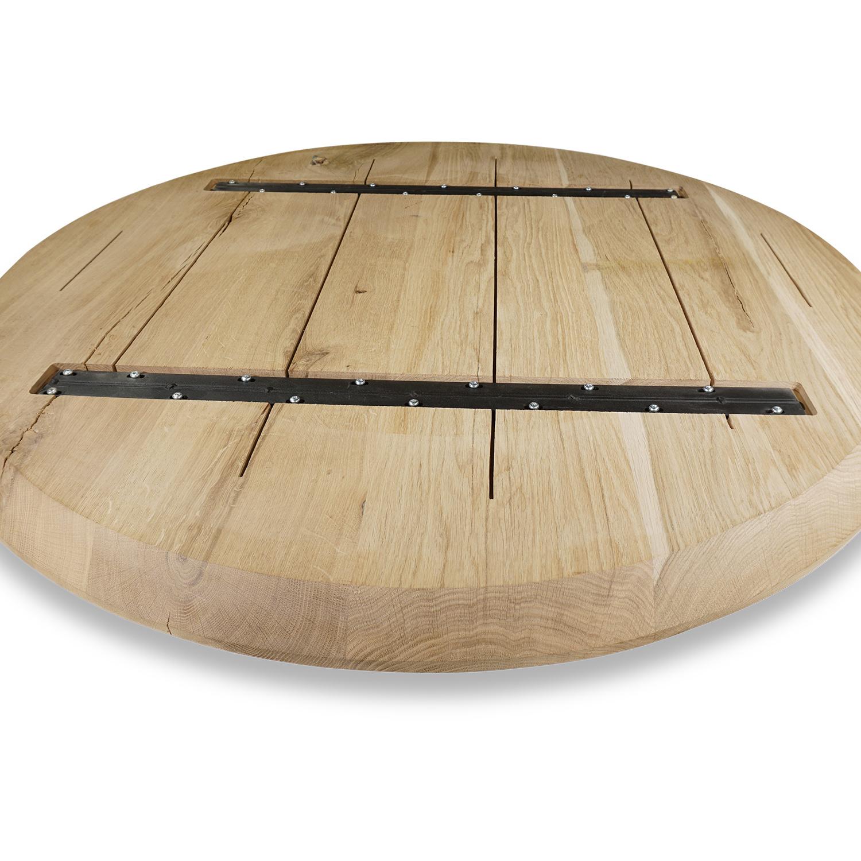 Eiken tafelblad rond - VERJONGD - 3 cm dik (1-laag) - Diverse afmetingen - Rustiek Europees eikenhout - verlijmd kd 10-12% - met verjongde / afgeschuinde rand