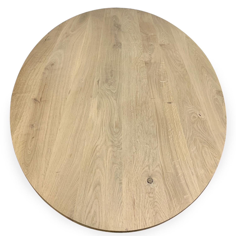 Eiken tafelblad ovaal -  VERJONGD - 3 cm dik (1-laag) - rustiek Europees eikenhout - verlijmd kd 10-12% - met verjongde / afgeschuinde rand