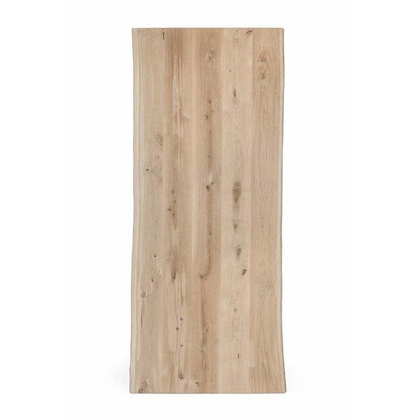 Eiken boomstam tafelblad - OPGEDIKT - 6 cm dik (2-laags rondom) - extra rustiek eikenhout