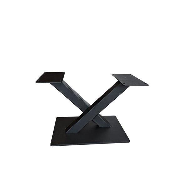 Stalen salontafel onderstel V / X poot op voet - 3-DELIG - 6x6cm - 60 cm breed - 38 cm hoog - 35x50 cm (voet)plaatafmeting - GECOAT