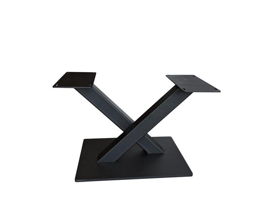 Stalen salontafel onderstel V / X poot op voet - 3-DELIG met schroefbevestiging - 6x6x0,3cm - 68 cm breed - 38 cm hoog - 35x50 cm (voet)plaatafmeting - Metaal / Staal incl. poedercoating zwart - transparant / blank gecoat
