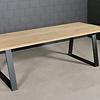 Stalen Trapeze tafelpoten SLANK (SET) 2x10 cm - 78-95 cm breed - 72 cm hoog - Trapezium poot GEPOEDERCOAT zwart