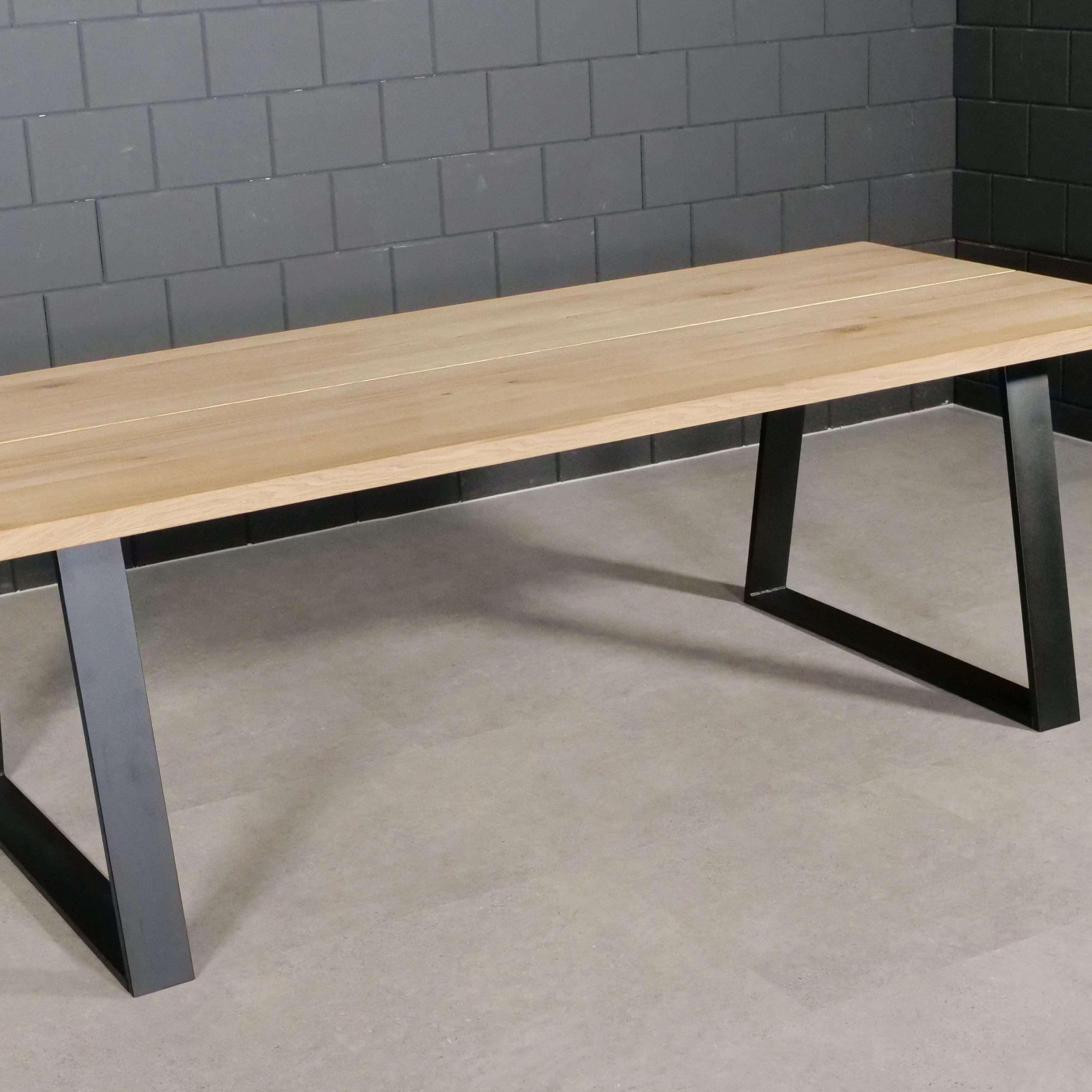 Stalen Trapeze tafelpoten SLANK (SET) 2x10x0,3cm - 78-95 cm breed - 72 cm hoog - Trapezium poot GEPOEDERCOAT zwart