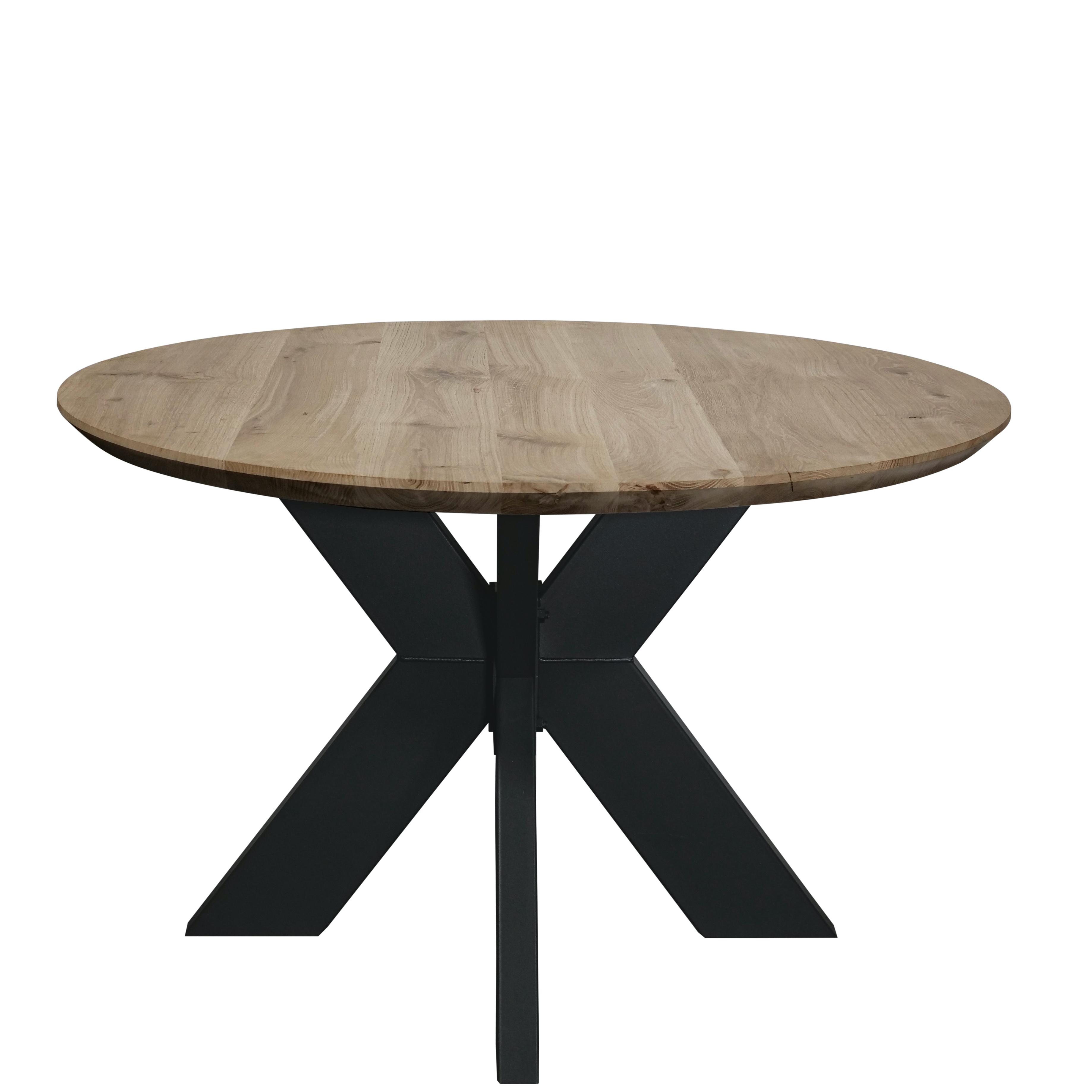 Eiken tafelblad rond - VERJONGD - 4 cm dik (1-laag) - Diverse afmetingen - Rustiek Europees eikenhout - verlijmd kd 10-12% - met verjongde / afgeschuinde rand