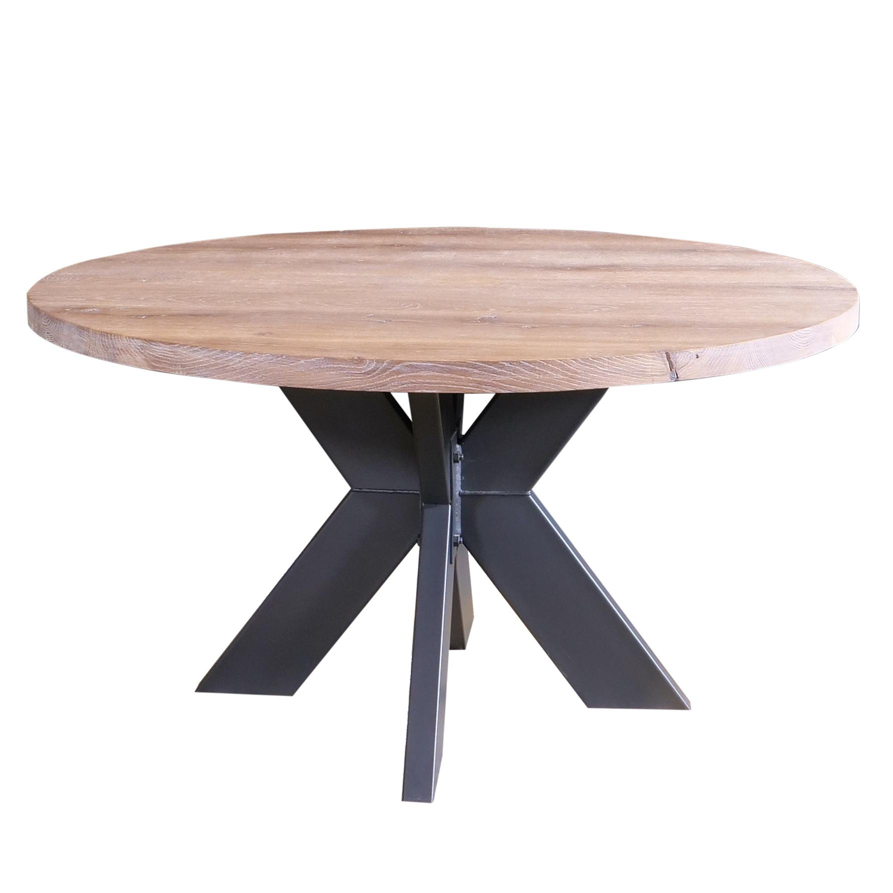 Eiken (horeca) tafelblad rond - 4 cm dik (1-laag) - diverse afmetingen - rustiek Europees eikenhout GEBORSTELD - verlijmd kd 10-12%