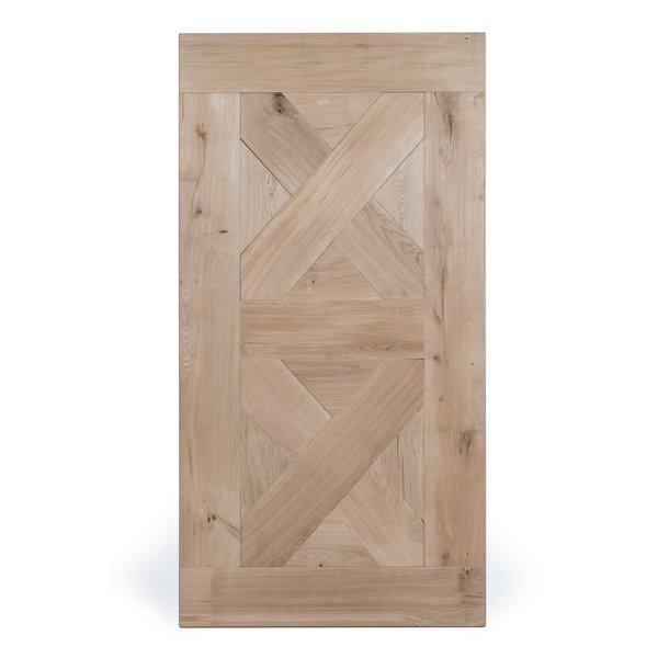 Eiken tafelblad speciaal - 4,5 cm dik (1-laag) - rustiek eikenhout - GEBORSTELD + V-GROEVEN