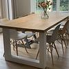 Eiken tafelblad - 4,5 cm dik (1-laag) - diverse afmetingen - rustiek Europees eikenhout - GEBORSTELD + (optioneel) V-GROEVEN - verlijmd kd 10-12%
