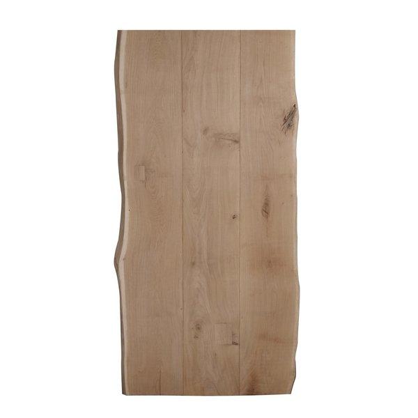 Eiken boomstam tafelblad LUXE (3 lamellen) - 4,5 cm dik (1-laag) - extra rustiek eikenhout - geborsteld + V-groeven