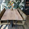 Eiken tafelblad LUXE (3 lamellen) - 4.5 cm dik (1-laag) - diverse afmetingen - extra rustiek Europees eikenhout - geborsteld + V-groeven - verlijmd kd 10-12%