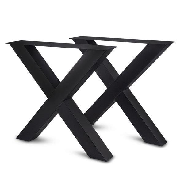 Stalen X-tafelpoten (SET) 10x10cm - 78 cm breed - 72 cm hoog - GECOAT