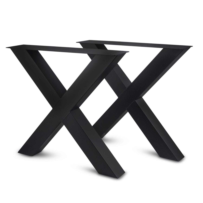 Stalen X-tafelpoten (SET) 10x10x0,3cm - 78 cm breed - 72 cm hoog - Kruispoot GEPOEDERCOAT zwart - antraciet - wit